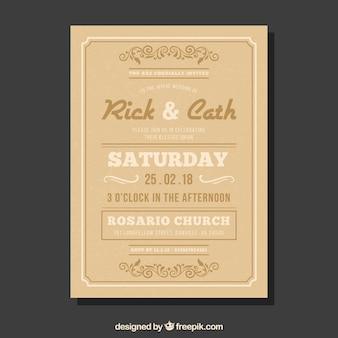 Beige wedding invitation in vintage style