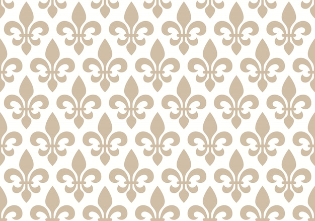 Beige and white seamless floral pattern with royal lily