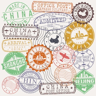 Beijing china set of travel and business stamps