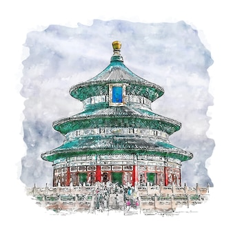 Beijing china watercolor sketch hand drawn illustration