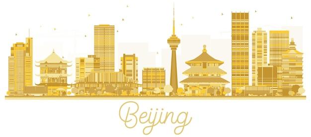 Золотой силуэт горизонта города пекин. векторная иллюстрация. городской пейзаж пекина с достопримечательностями. Premium векторы