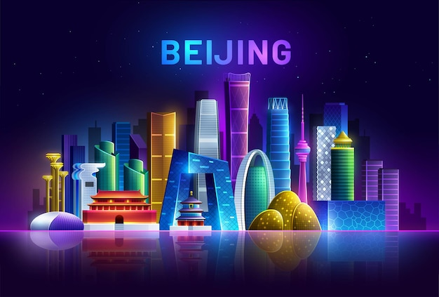 Beijing skyline by neon lights asia cityscape with panorama on a dark background