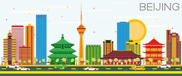Горизонт пекина с цветными зданиями и голубым небом. векторные иллюстрации. деловые поездки и концепция туризма с современной архитектурой. изображение для презентационного баннера и веб-сайта.