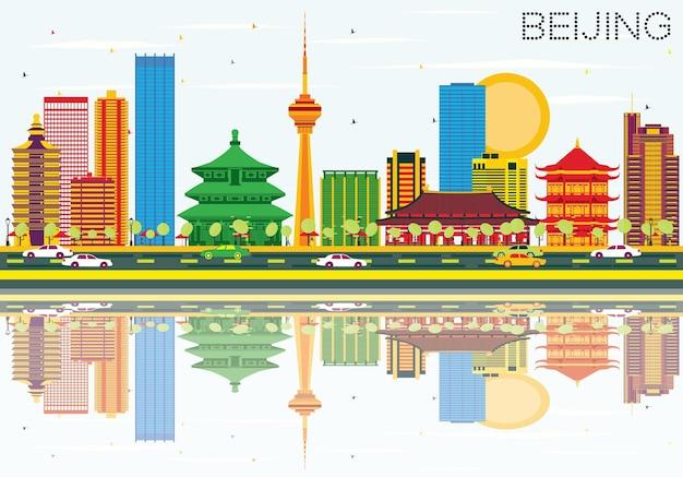 Горизонт пекина с цветными зданиями, голубым небом и размышлениями. векторные иллюстрации. деловые поездки и концепция туризма с современной архитектурой. изображение для презентационного баннера и веб-сайта.