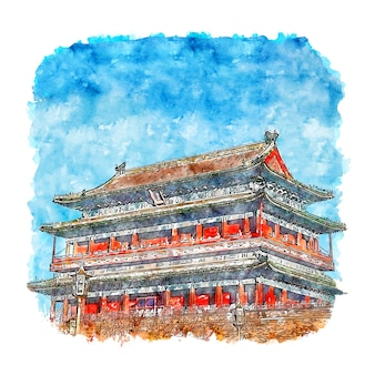 Beijing temple china watercolor sketch hand drawn illustration