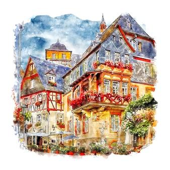 Beilstein 독일 수채화 스케치 손으로 그린