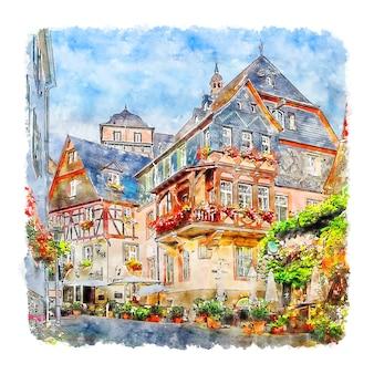 Beilstein rheinland pfalz 독일 수채화 스케치 손으로 그린 그림