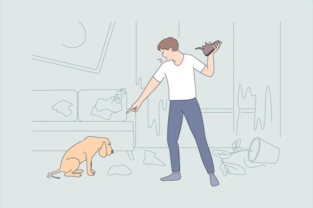 Being angry at pet concept. young angry aggressive man cartoon character standing shouting at guilty dog eaten his shoe vector illustration