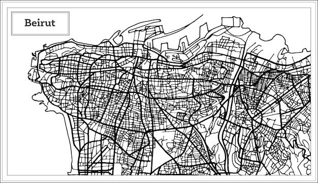 흑백 색상의 베이루트 레바논 도시 지도. 벡터 일러스트 레이 션. 개요 지도.