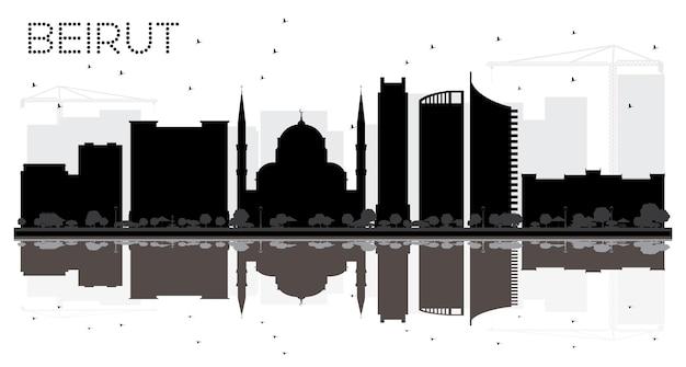 ベイルートレバノン市のスカイラインの黒と白のシルエット。ベクトルイラスト。出張の概念。ランドマークのあるベイルートの街並み。