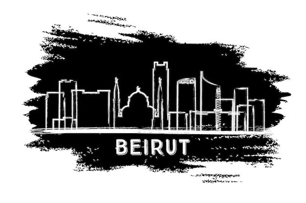 베이루트 레바논 도시 스카이 라인 실루엣입니다. 손으로 그린 스케치. 벡터 일러스트 레이 션. 역사적인 건축과 비즈니스 여행 및 관광 개념입니다. 랜드마크가 있는 베이루트 도시 풍경.