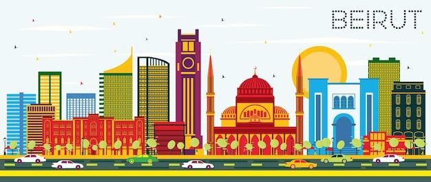 컬러 건물과 푸른 하늘이 있는 베이루트 레바논 스카이라인. 벡터 일러스트 레이 션. 현대 건축과 비즈니스 여행 및 관광 개념입니다. 랜드마크가 있는 베이루트 도시 풍경.