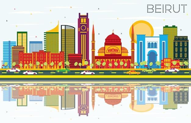 컬러 건물, 푸른 하늘, 반사가 있는 베이루트 레바논 스카이라인. 벡터 일러스트 레이 션. 현대 건축과 비즈니스 여행 및 관광 개념입니다. 랜드마크가 있는 베이루트 도시 풍경.