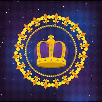Bejeweled crown round icon