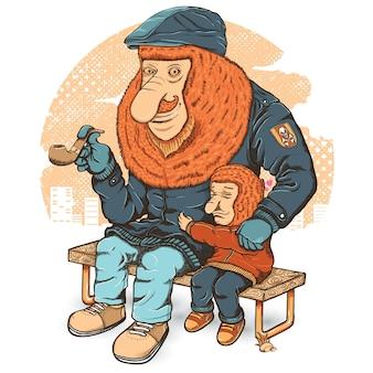 Bekantanと彼の息子のイラスト