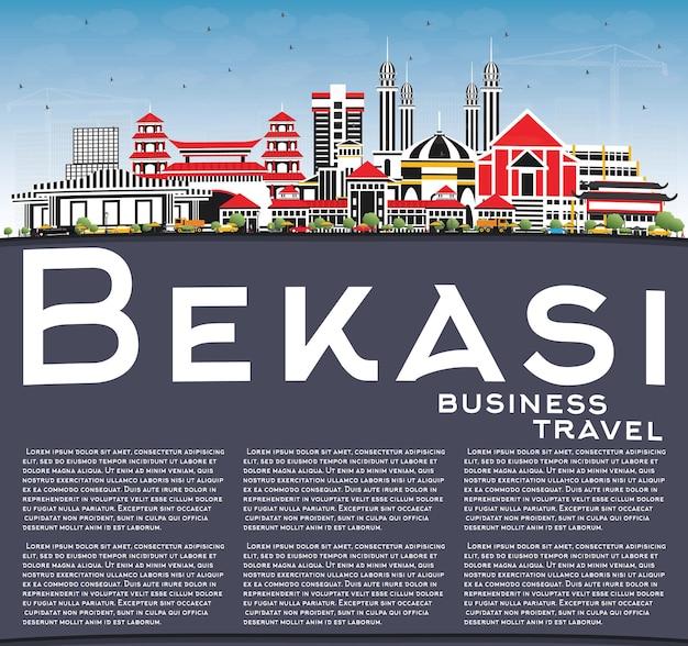 색상 건물, 푸른 하늘 및 복사 공간이 있는 bekasi 인도네시아 도시 스카이라인. 벡터 일러스트 레이 션. 역사적인 건축과 비즈니스 여행 및 관광 개념입니다. 랜드마크가 있는 베카시 풍경.