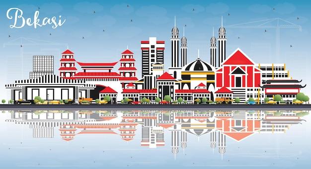 Горизонты города индонезия бекаси с цветными зданиями, голубым небом и отражениями. городской пейзаж бекаси с достопримечательностями.