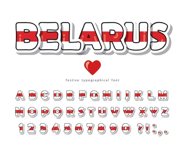 Беларусь мультфильм шрифт. протестируйте красную белую полосу цветов флага.