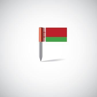 白い背景の上のベラルーシの旗ピン