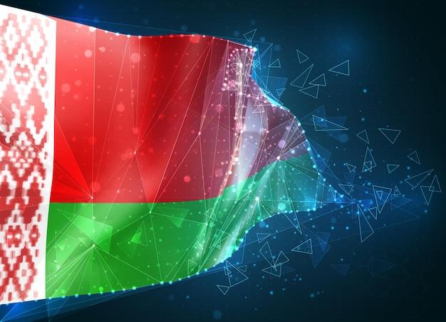 Беларусь; флаг, виртуальный абстрактный 3d-объект из треугольных многоугольников на синем фоне
