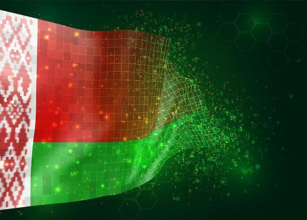 ベラルーシ、ポリゴンとデータ番号と緑の背景のベクトル3dフラグ