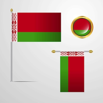 Belarus waving flag design with badge vector