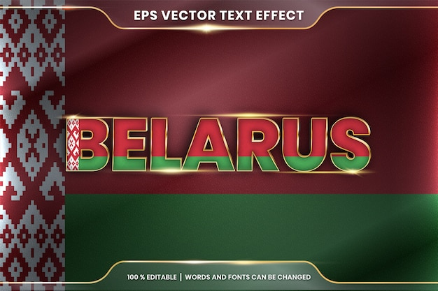 Belarus with its national country flag, editable text effect style with gradient gold color concept