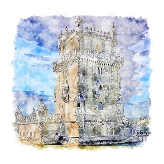 Белен лиссабон португалия акварельный эскиз рисованной иллюстрации