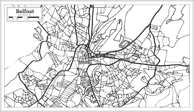 Карта города белфаст ирландия в стиле ретро. контурная карта. векторные иллюстрации.