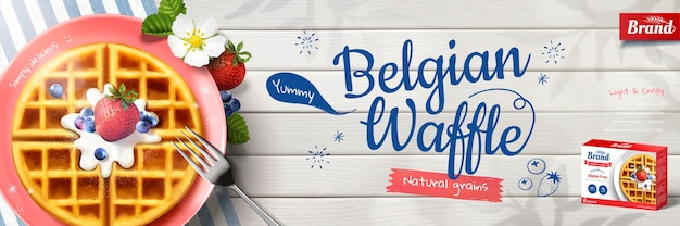Belgian waffle banner banner with delicious pancake on wooden table, flat lay perspective in 3d style