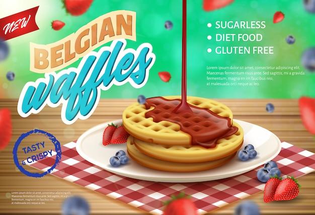 Belgian waffles realistic illustration for banner