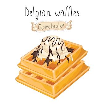Belgian waffles with ice cream on white background