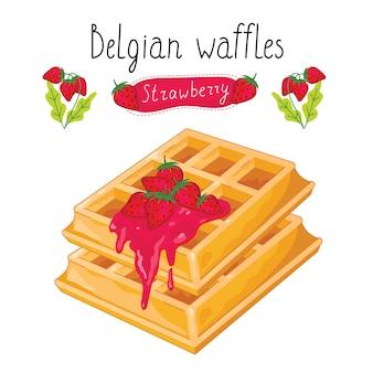 Belgian waffles with jam on white background