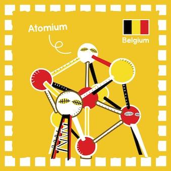 귀여운 스탬프 디자인이 있는 벨기에 atomium 랜드마크 일러스트