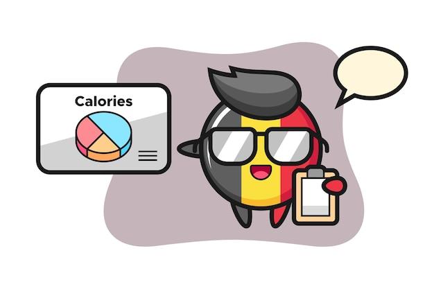 Belgium flag badge mascot as a dietitian