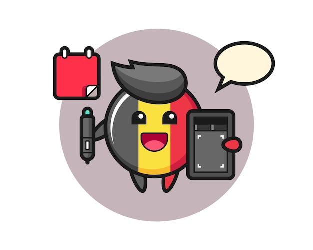 Belgium flag badge mascot as a graphic designer