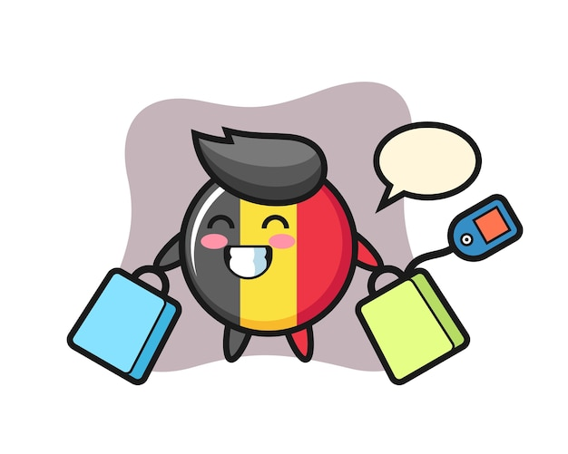 ショッピングバッグを保持しているベルギーの旗バッジマスコット漫画