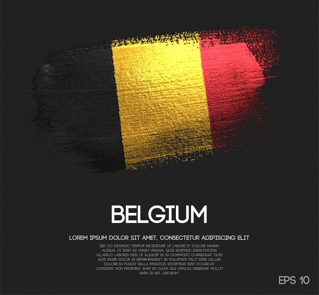 Belgium flag made of glitter sparkle brush paint vector