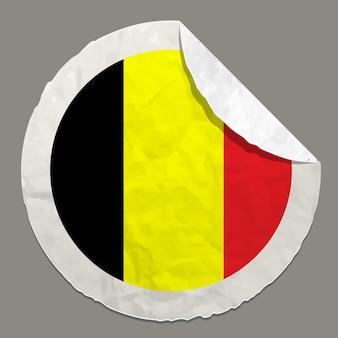종이 라벨에 벨기에 국기 기호