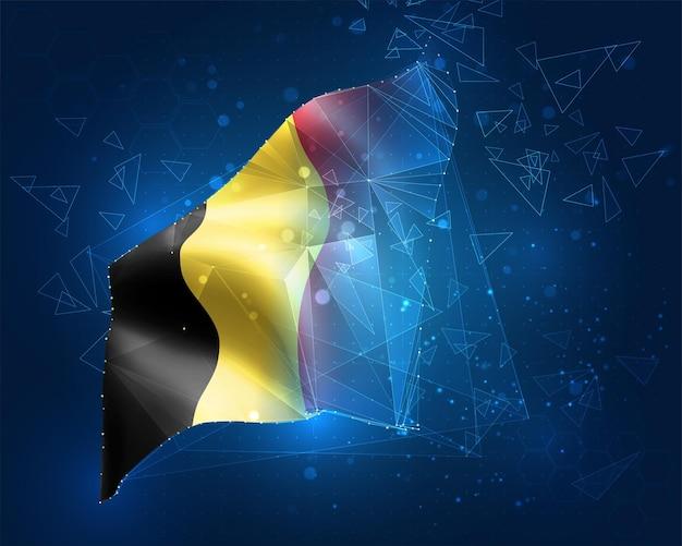 Бельгия, флаг, виртуальный абстрактный 3d-объект из треугольных многоугольников на синем фоне