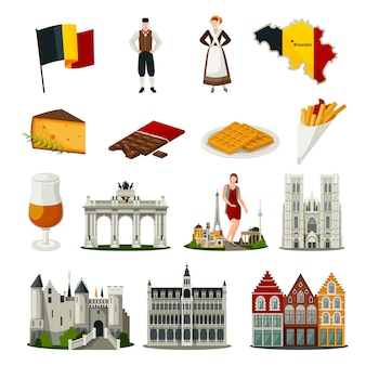 Belgium flat style icons set
