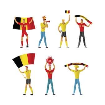 Belgium football fans cheerful soccer