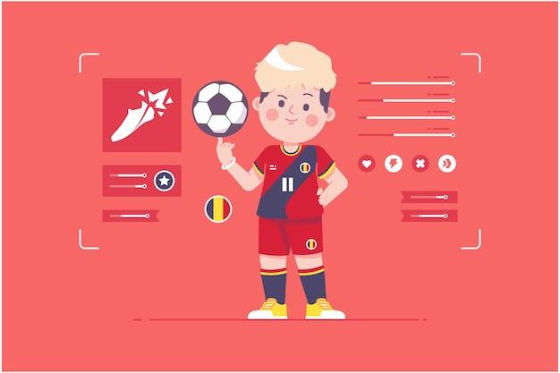 ベルギーのサッカー選手のかわいいキャラクターデザイン