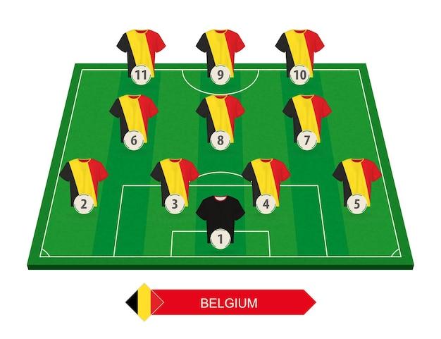 유럽 축구 대회를위한 축구장에 벨기에 축구 팀 라인업