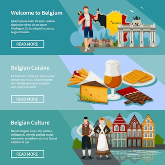 Belgium horizontal banners set flat style