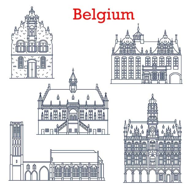 Belgium landmarks architecture, city sightseeing buildings,