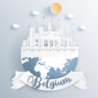 Belgium landmarks on earth in paper cut style vector illustration.