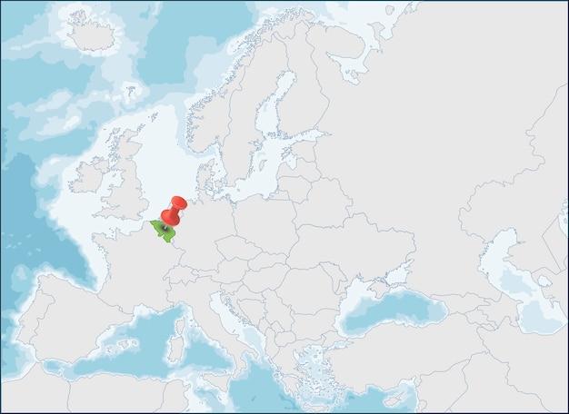 ヨーロッパ地図上のベルギーの場所