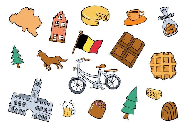 벨기에 또는 벨기에 국가 낙서 손으로 그린 세트 컬렉션은 평평한 윤곽선 스타일로 꾸며져 있습니다.