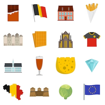 Belgium travel icons set